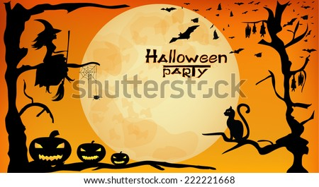 Halloween party design - witch, pumpkins, spider and bats on orange moon background