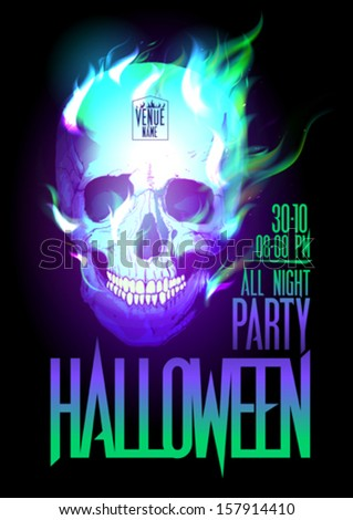 Halloween party design with skull in flames and place for text. Eps10 - stock vector