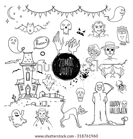 Halloween party doodles. Hand drawn ink illustrations. Design elements for invitation cards, banners, party flyer template: scytheman, ghosts, bat, zombie hands. Isolated vector on white. - stock vector