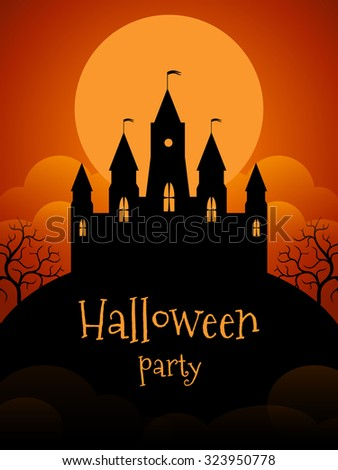 Halloween party flyer template. Castle on the background of the moonscape - stock vector