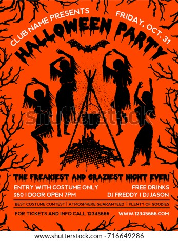 Halloween Party Flyer Template Witches Dancing Stock Vector ...