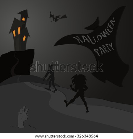 Halloween_Party - grey tones silhouette - stock vector