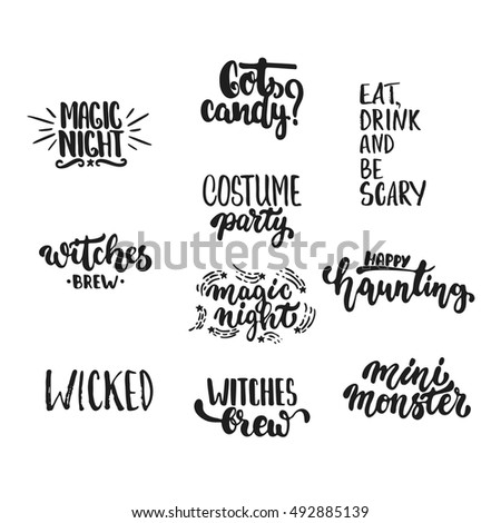 Halloween Party Hand Drawn Lettering Phrases Stock Vector ...