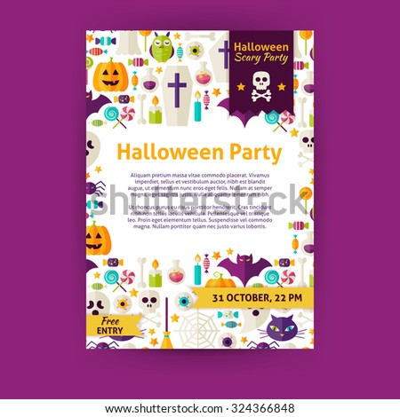 Halloween Party Holiday Invitation Template Flyer. Flat Design Vector Illustration of Brand Identity for Halloween Promotion. Trick or Treat Colorful Pattern for Advertising - stock vector