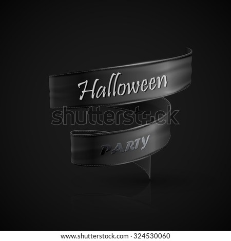 Halloween party. Holiday Vector Illustration with black ribbon. Lettering composition - stock vector