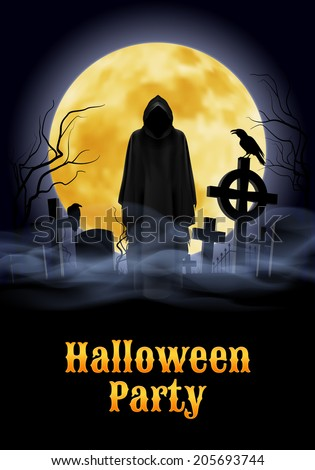Halloween party illustration- silhouette of black scary scytheman standing on ancient necropolis with crosses over night  sky and yellow moon - stock vector