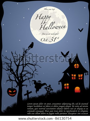 Halloween party invitation background with full moon. Vector