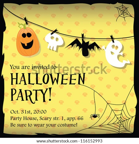 Halloween party invitation card stock vector 116152993 shutterstock halloween party invitation card stopboris Gallery