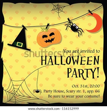 Halloween party invitation card stock vector 116152999 shutterstock halloween party invitation card stopboris Choice Image