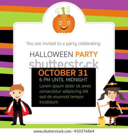 Halloween party invitation cards witch,vampire characters vector. illustration EPS10. - stock vector