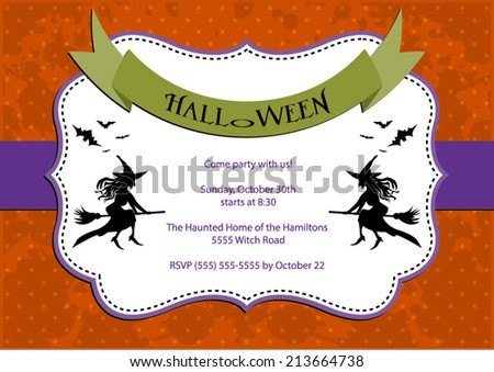 Halloween Party invitation. dark orange polka dot background with witch and bats. Vector eps10, illustration.  - stock vector
