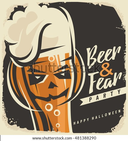 Halloween party invitation design concept. Vector poster template with pumpkin head and glass of beer.