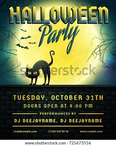 Halloween Party Invitation Flyer Template Full Stock Vector - Halloween party flyer template