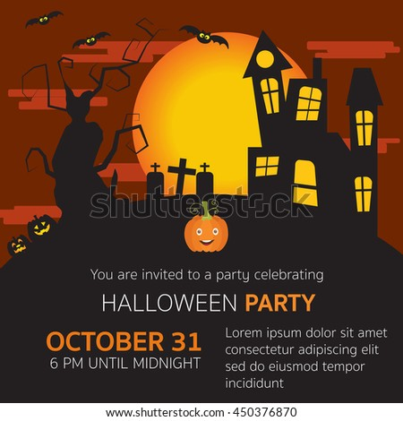 Halloween party invitation horror house,grave yard,pumpkins,old big scary tree and big moon in the red velvet sky vector. illustration EPS10. - stock vector