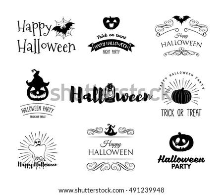 Halloween party invitation label templates holiday stock vector halloween party invitation label templates with holiday symbols witch hat bat pumpkin stopboris Images