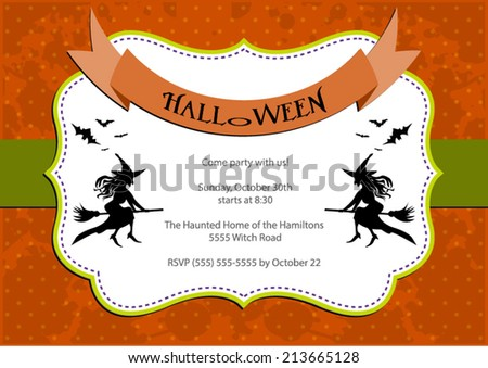 Halloween Party invitation. orange polka dot background with witch and bats. Vector eps10, illustration. - stock vector