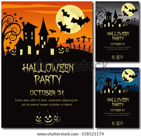 Halloween party invitation poster or card illustration design, text outline, no drop shadow on the .eps - stock vector