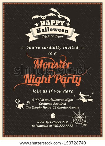 Halloween Party Invitation Template for Card-Poster-Flyer - stock vector