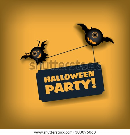 Halloween party invitation template. Holiday celebration poster or card. Adorable cartoon design for children with flying monsters. Eps10 vector illustration. - stock vector