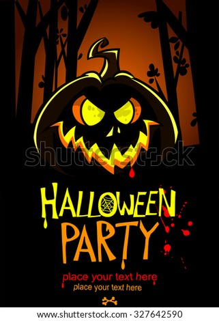 Halloween party invitation vector template, with pumpkin and place for text