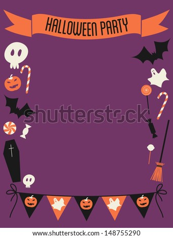 Halloween party invitation with copy-space.
