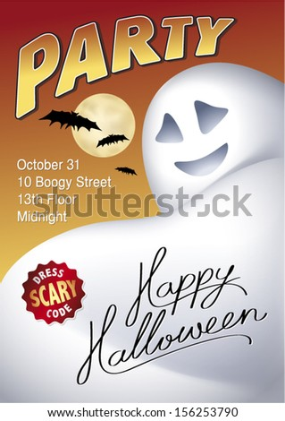 Halloween party invitation with ghost, full moon and bats. - stock vector