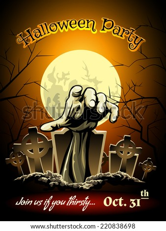Halloween Party Invitation with Zombie Cemetery Graphic and Full Moon - stock vector
