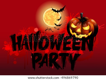Halloween party message design, vector illustration