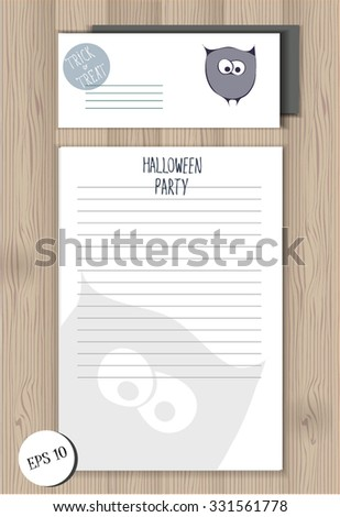 Halloween party office set with stylized funny sketched owl. Template of envelope and lined empty blank on the wooden background. lettering design. festive halloween elements. party items - stock vector