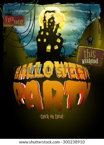 Halloween party. Old poster happy holiday background with moon. Scary mysterious castle. EPS 10 vector file included - stock vector