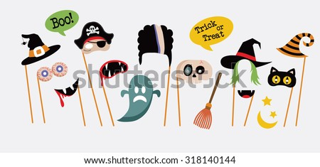 Halloween party photo booth collection - stock vector