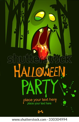 Halloween party postcard vector template, with  zombie face and place for text - stock vector