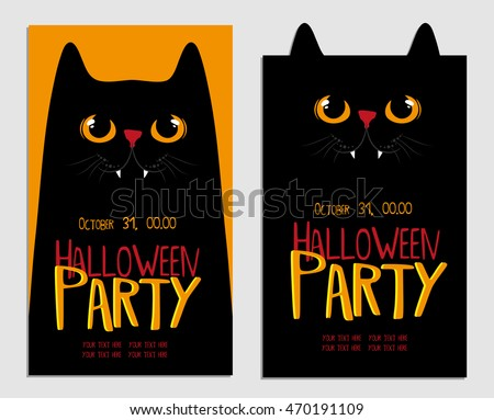 halloween party poster card or flyer with black cat