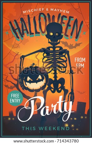 Halloween Party Poster. Cool Vector Happy Halloween Banner Or Flyer Template  With Spooky Skeleton Character