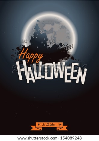 Halloween party. Poster happy holiday background with moon. Scary mysterious castle - stock vector