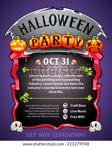 Halloween Party Poster. In the EPS file, each element is grouped separately. - stock vector