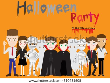 Halloween party poster invitation with characters zombie, vampire, mummy, frankenstein - stock vector