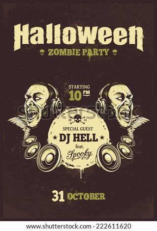 Halloween party poster template. Zombie with headphones and speakers. Halloween typography. Vector illustration. - stock vector