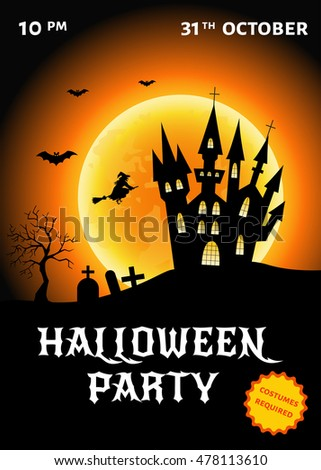 Halloween  party  poster.  Vector  illustration.