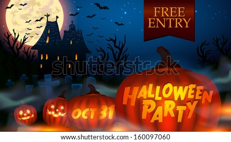 Halloween party poster with wicked house and glowing pumpkins - vector illustration. - stock vector