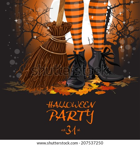 Halloween party poster with witch legs in boots and broomstick - stock vector