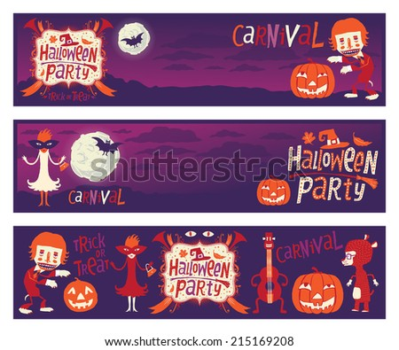 Halloween party. Set of three vector banners with funny characters for Halloween party - stock vector