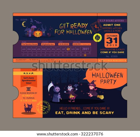 Halloween Party Ticket Card Vector Template Stock Vector 322237076