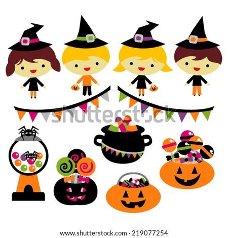 Halloween party vector. Kids, jack o lanterns, sweets. - stock vector