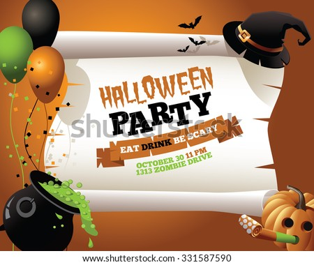 Halloween Party Witch Background A witch's hat, cauldron, and other scary items with space for your copy. EPS 10 vector, grouped for easy editing. No open shapes or paths. - stock vector