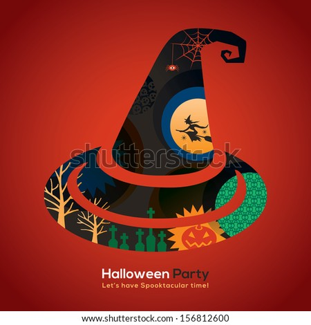 Halloween Party witch hat Isolated Illustration for invitation card / poster / flyer / web banner - stock vector