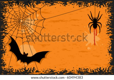 Halloween party with creepy spider and scary bat.  . - stock vector