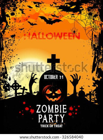 Halloween Party with pumpkins Bats Spider on Grunge Cemetery / Zombie Party with Halloween - stock vector