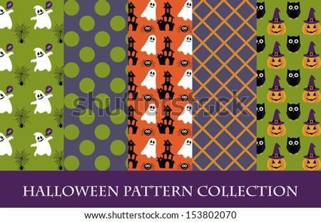halloween pattern collection. vector illustration - stock vector