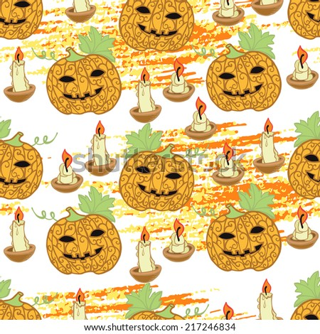 Halloween pattern with pumpkins and candles. Seamless pattern for fabric, paper and other printing and web projects. - stock vector